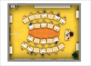 move.upp - flexibler Gruppenraum für die Schule von oben